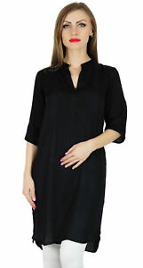 Bimba-Women-Black-Cotton-Tunic-Short-Kurta-Kurti-Casual-Blouse-Summer-Wear