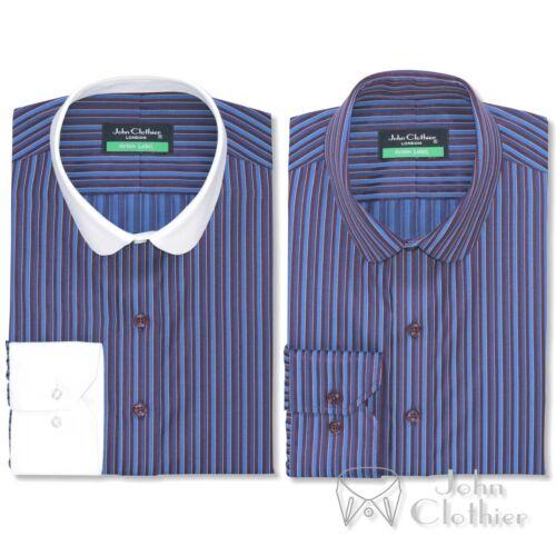Da Uomo Peaky Blinder Penny colletto blu a righe bordeaux banchiere Camicia ROUND Club