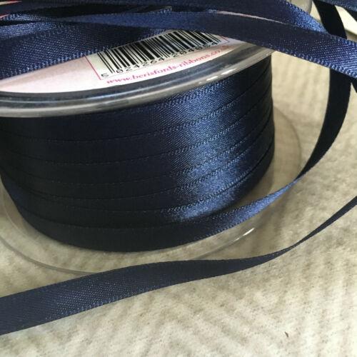 7 Mm X 20m precioso rico azul marino de doble cara cinta de raso Col # 13-20 Metros
