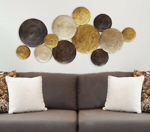 Image is loading Contemporary-Modern-Design-Textured-Metal-Plates-Wall-Art- & Contemporary Modern Design Textured Metal Plates Wall Art Sculpture ...