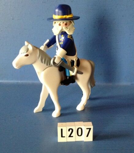 L207 playmobil Général western nordiste à cheval ref 5249 3023 3729