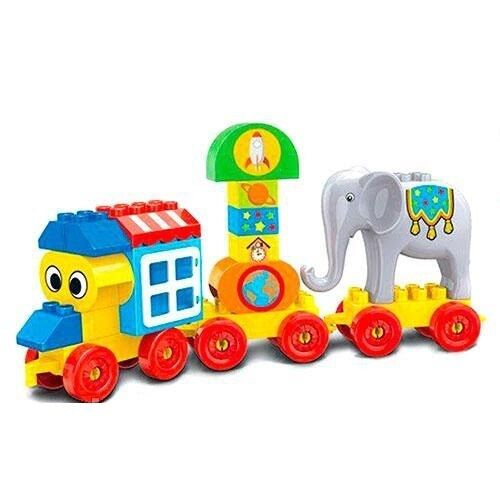 Gioco Costruzioni Trenino Con Ruote Circo Elefante 31pz Giocattolo Bambini Linq