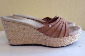 44c2d39f4a4 Details about UGG Brown Leather Platform Wedge Slides Espadrille Sandals  Alvina 3100 Misses 6