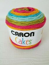 "Caron Cakes in /""RAINBOW SHERBET/"" Worsted Yarn Pink Green Blues Orange"