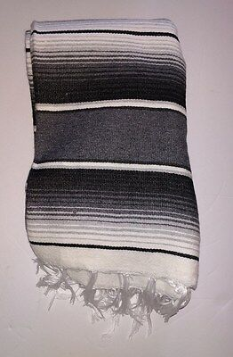 Mexican Serape Blanket Gray,White and Black striped with white fringe XL