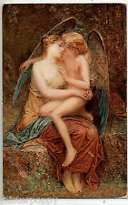 D. MAILLART L'Amore Consolatore Nude Girl w Angel PC circa 1910 Salon de Paris