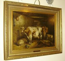 Antique British John W. Morris Attributed Cow and Sheep In a Barn Oil Painting