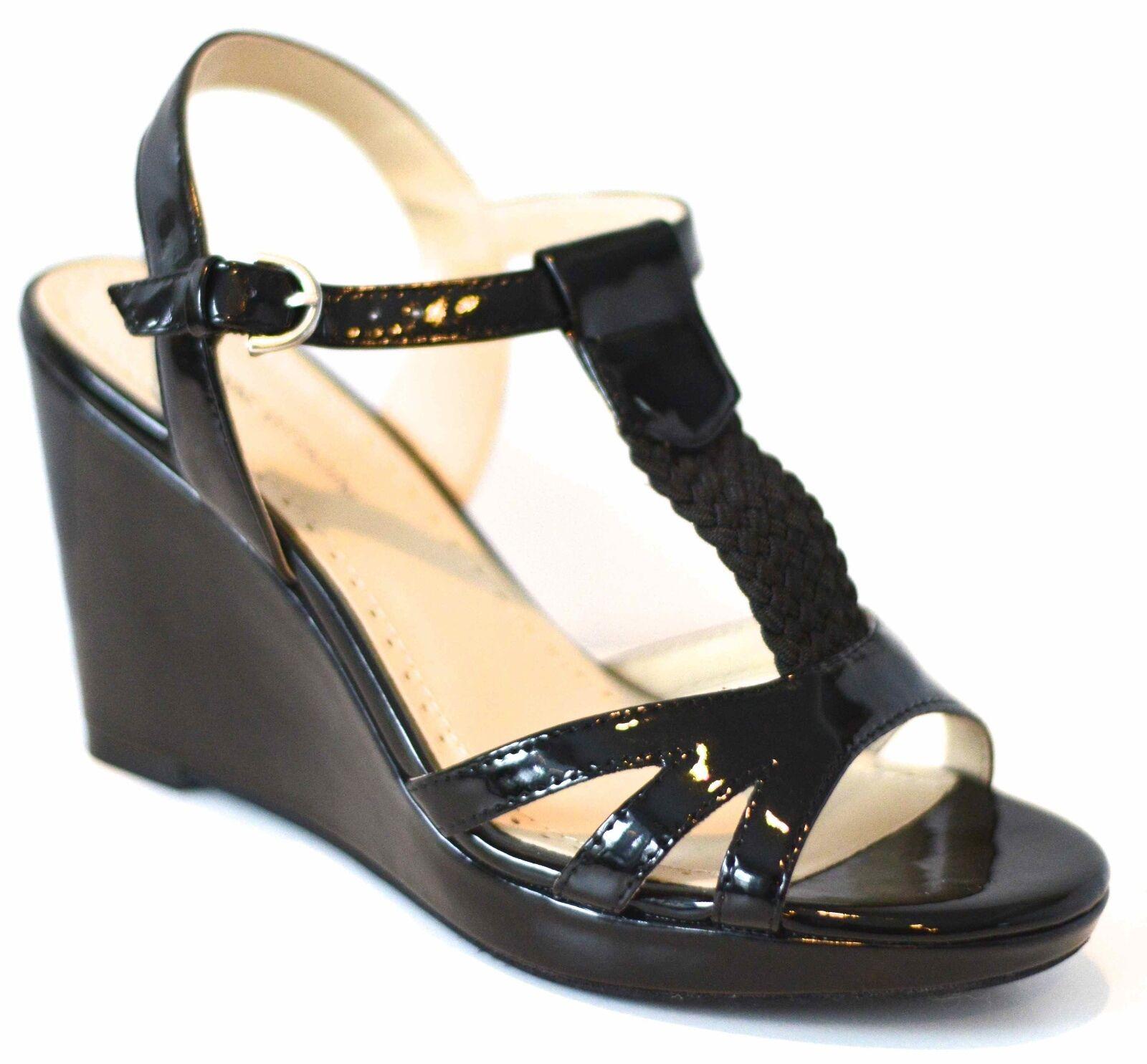 Adrienne Vittadini Clovis Womens Womens Clovis Size 10 Black Wedge Sandals Shoes Patent 36d10f