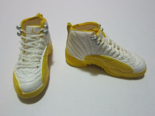 """1//6 Scale Sneakers Sports Trainers Air AJ12 White Yellow for 12/"""" Action figure"""