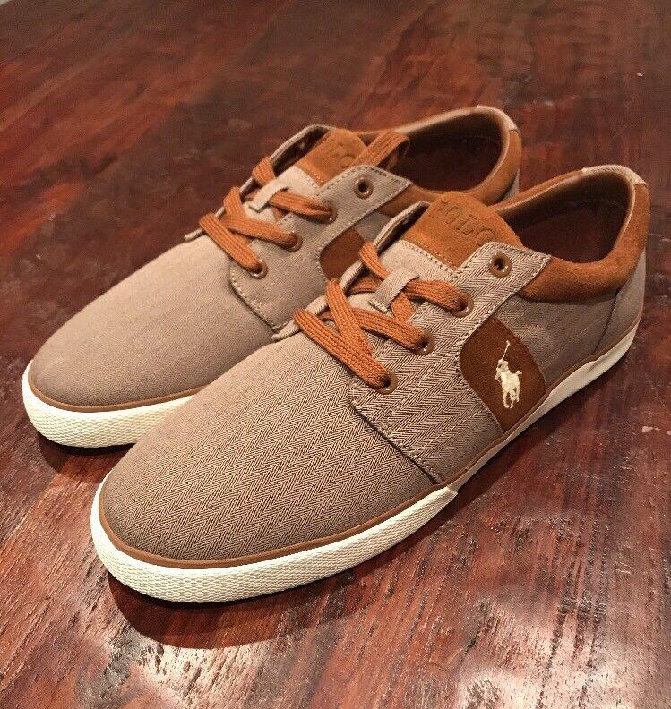 Polo Ralph Lauren Halmore II shoes Khaki Herringbone New Mens 12