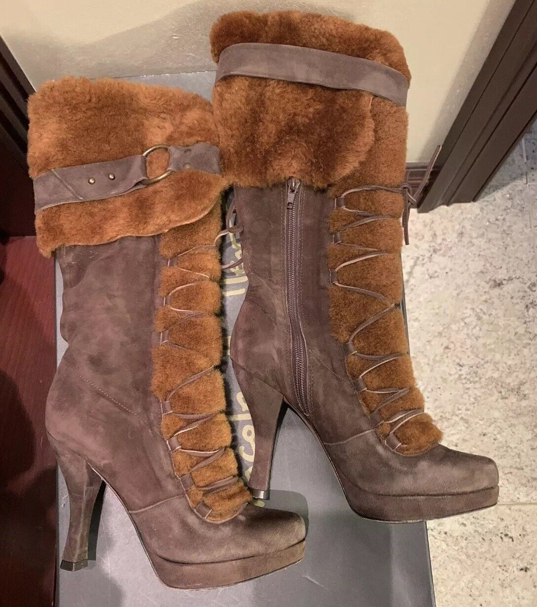 Nicole Miller Brown  Suede & Shearling Platform Boots Size 6