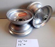 "(2) 4.10/3.50-4 Hand Truck Air Tire Bearing Rim Offset Hub 5/8"" ID Shaft silver"