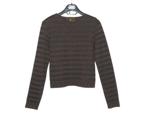 FENDI brown black wave wool sweater ladies jumper