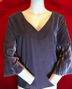 16 Rrp Biba Uk Camicetta velluto £ Back Top Bnwt 79 Lilla di Sleeve Keyhole Pleated Pdwwq17