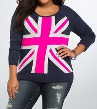 Torrid Navy Blue Neon Pink London Union Jack Flag Sweater 1 14 16 1X #76632