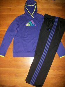 3dc7dc0c9be8 ADIDAS PURPLE HOODIE   TRACK PANTS STRIPES ACTIVE SET OUTFIT WOMEN S ...