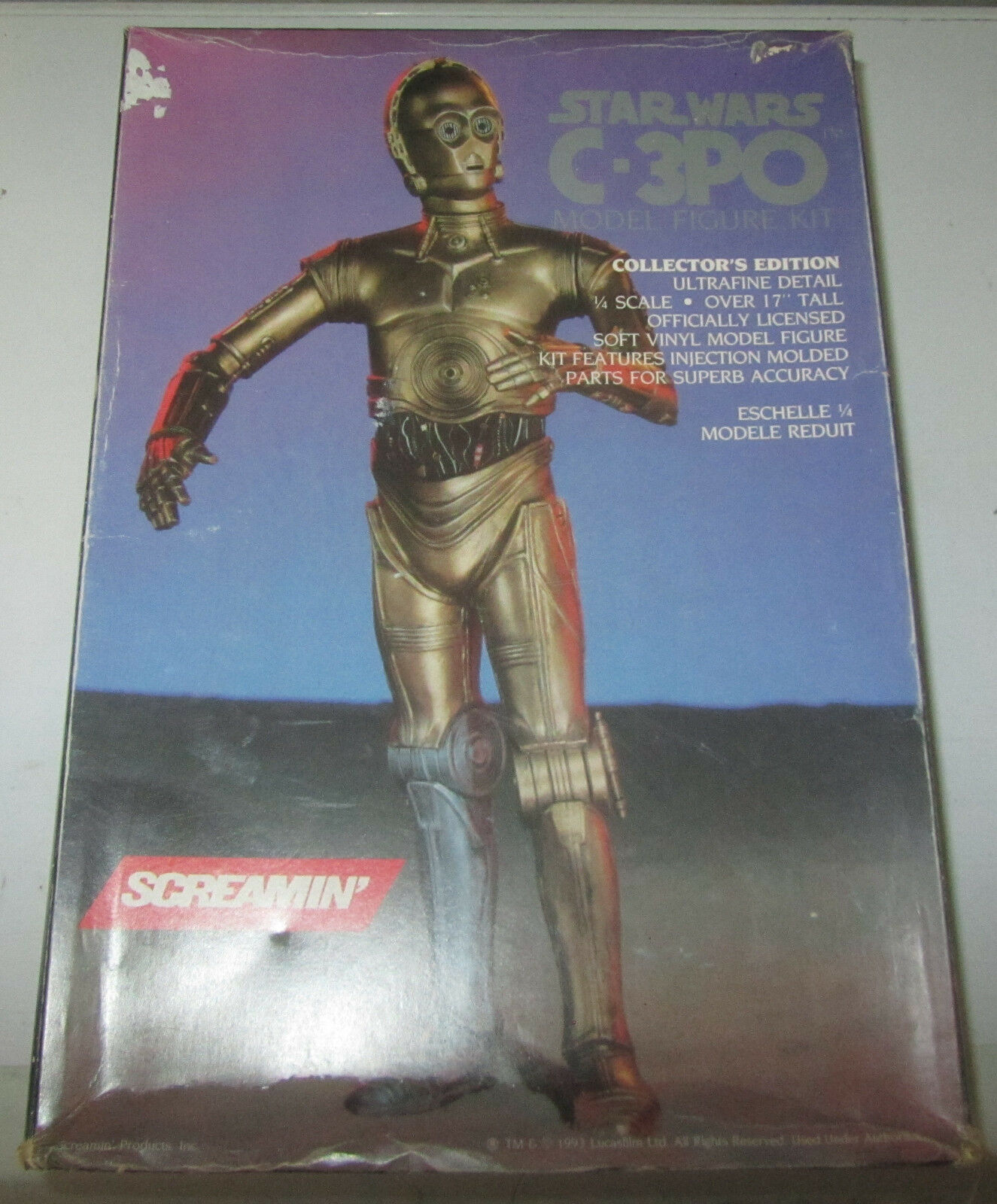 1993 STAR WARS C-3PO Vinyl 1/4 Scale Model Kit Screamin' Figure SPESE GRATIS