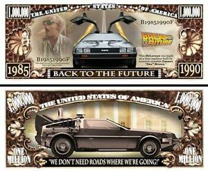 RETOUR-VERS-LE-FUTUR-BILLET-MILLION-DOLLAR-Collection-voiture-DELOREAN-DMC-12