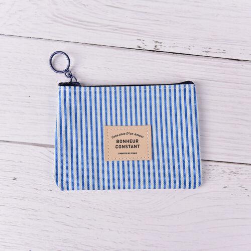 Stripe Canva Zero Wallet Kids Clutch Zipper Women Pocket Pouch Key Coin  Wy