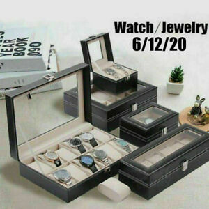 Watch-Box-Luxury-Black-Leather-amp-Glass-Box-in-2-6-10-12-20-Case-Watch-Display-UK