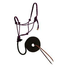 Weaver Purple and Black Rope Halter with Lead HORSE TACK 35-7800-R4