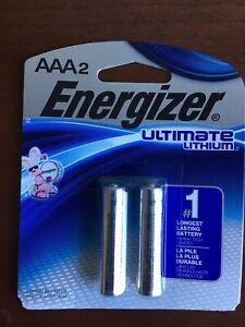 AAA2 Energizer Ultimate Lithium 2 Pack, Fresh sealed Expire 12-2037