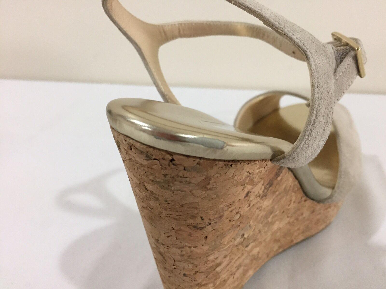 Jimmy Choo Cork 'Perla' Beige (Natural) Suede Cork Choo Wedge Sandals Size 40.5/10 $525.00 50d362