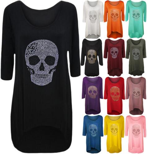 Womens Plus Size Skull Tail Back Dip Hem Ladies Long Scoop Neck Sleeve Top 12-26