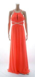 84c4fe931c4 Lipsy Neon Coral High Neck Maxi Dress With Chain Waist Detail