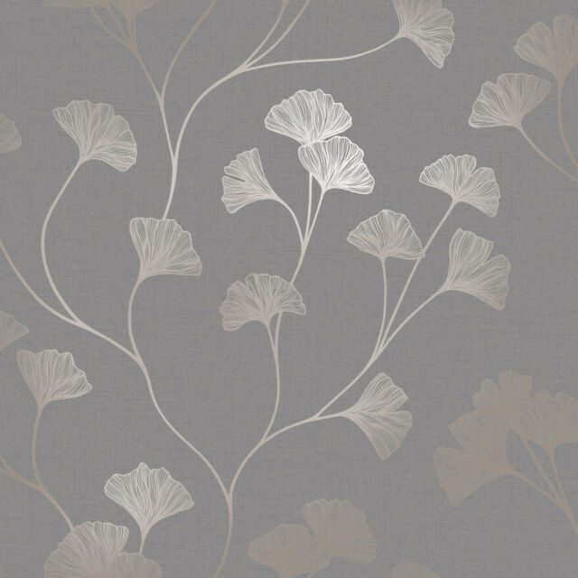 Fine Decor Quartz Floral Copper Brown Shimmer Wallpaper FD41979 SAMPLE ONLY