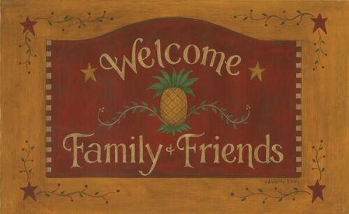 New Primitive Folk Art WELCOME FAMILY FRIENDS PINEAPPLE STAR MAT Floor Rug