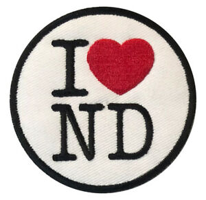 I Love North Dakota Nd Usa 3 Logo Sew Iron On Badge Embroidery
