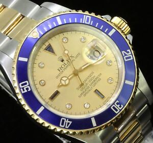 Rolex-Submariner-Mens-Stainless-18K-Gold-Watch-Oyster-Diamond-Serti-Dial