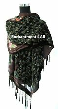 Stunning Beaded Silk Velvet Peacock Scarf Shawl, Brown