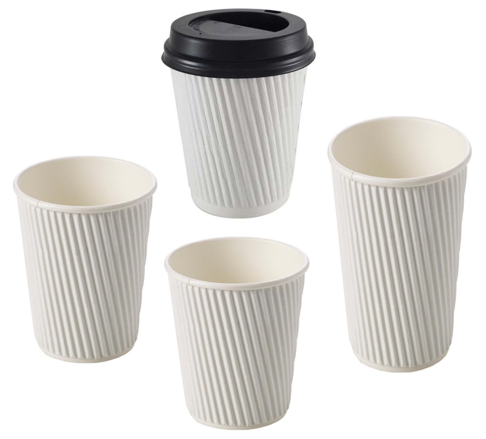 Caso a granel desechables Papel Tazas de Té Café con tapas de SIP 8oz 12oz 16oz blancoo ondulación