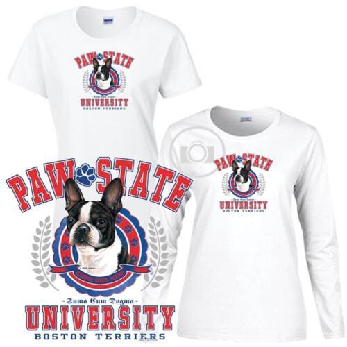 Boston Terrier Paw State University Ladies Short Long Sleeve White T Shirt S-3X