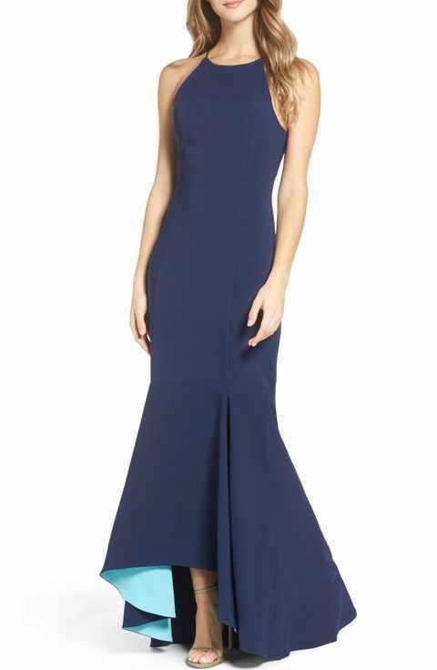 Maria Weiß schwarz Farbblock Marineblau & Aqua Meerjungfrau Abendkleid Größe 4
