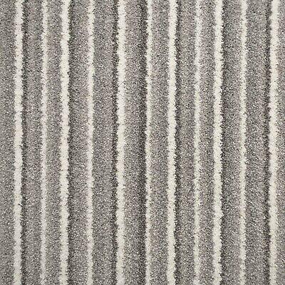Soft Grey Stripes Soft Supreme Saxony Carpet Action Backed