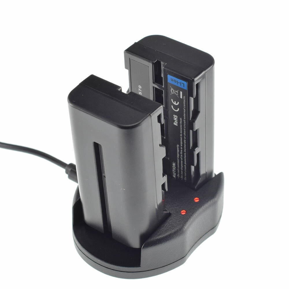 Battery 2-Pack W/ USB Charger for GVM LED480 LED520 LED672 LED896 Video Light