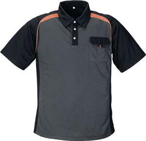 Baugewerbe Poloshirt Gr.xxxl Dunkelgrau/schwarz/orange 50%pes/50%cooldry Mit Brusttasche Arbeitskleidung & -schutz