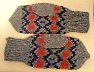 Icelandic Wool From Iceland Men's Mittens in Denim Blue, Navy, and Red, |  eBay