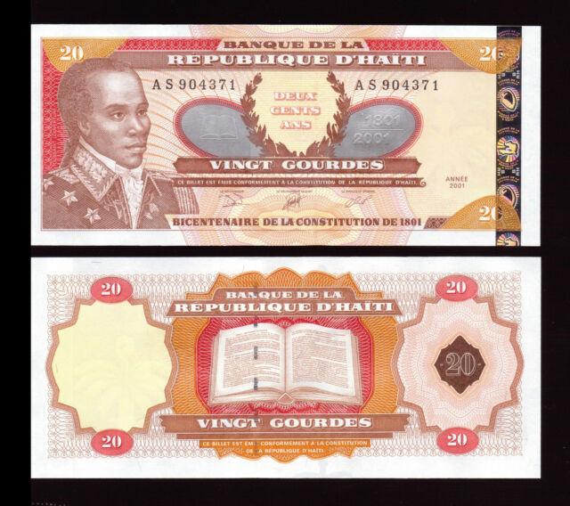 Haiti 20 Gourdes 2001 P-271A Commemorative Mint UNC Uncirculated Banknote
