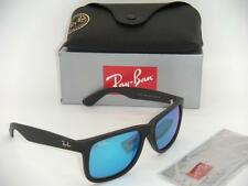 AUTHENTIC RAY-BAN JUSTIN RB 4165 622/55 55MM RUBBER BLACK WITH BLUE MIRROR LENS