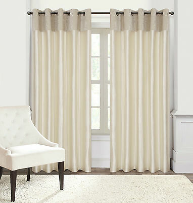 Designer Faux Velvet Eyelet Ring Top Ready Made Lined Curtains