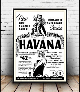 Havana-Old-Newspaper-advert-for-P-amp-O-Cruise-Poster-reproduction