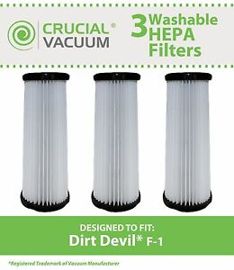 3 Replacement Dirt Devil F1 Filters Part # 3-JC0280-000 2-JC0280-000 3JC0280000