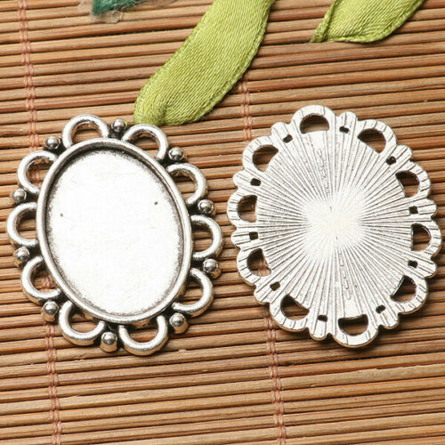3pcs dark silver floral  rim oval shaped  cabochon setting in 25x18mm EF3244