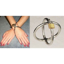Stainless Steel Cross Bondage Handcuffs Wrist Cuffs with lock key New Restraints