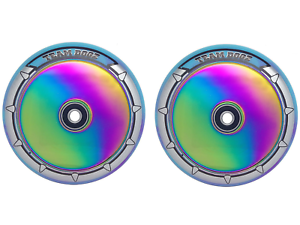 Pair Of Team Dogz Rainbow Chrome 100mm Scooter Alloy Wheels Purple bluee PU UFO