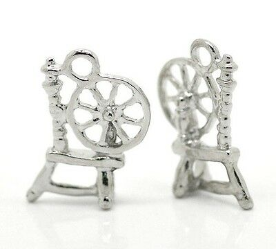 10 Silver SPINDLE SPINNING WHEEL Charms, Pewter, 18x12mm, chs0208